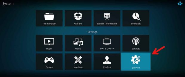 click for kodi system settings